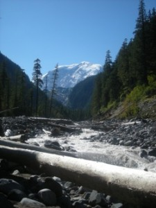 Mount Rainier with the Carbon River