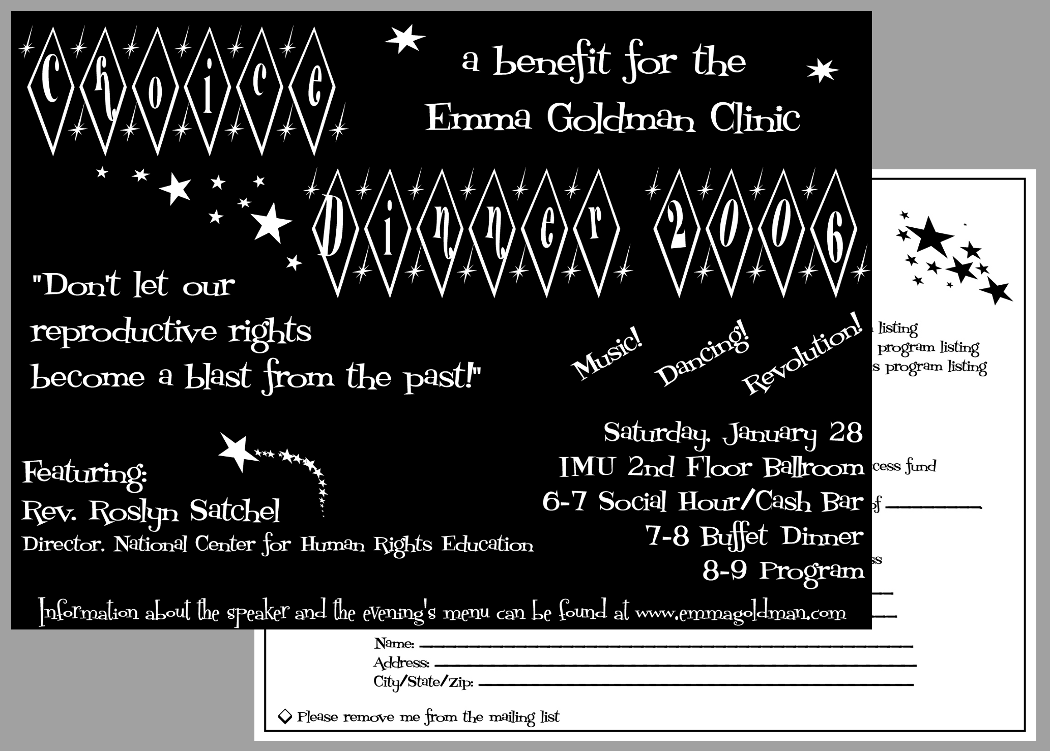 event promotions elaina buzzell 2006 choice dinner invitation
