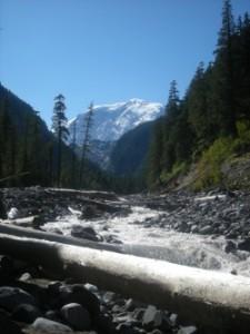 Mount Rainier with the Carbon River