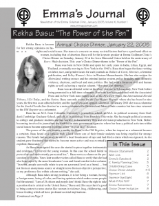 Winter 2005 Newsletter for the Women's Health Project